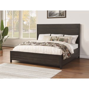 Contemporary King Low Profile Bed with Paneled Headboard