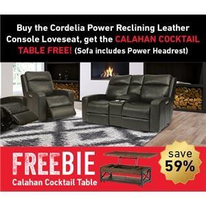 Cordelia Power Leather Loveseat w/Freebie!