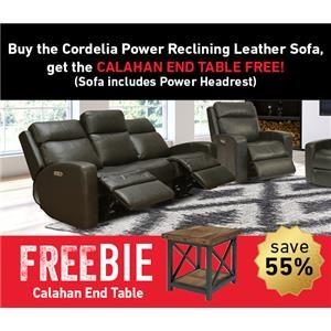 Cordelia Leather Reclining Sofa w/Freebie!