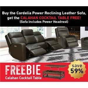 Cordelia Leather Reclining Sofa w/Freebie