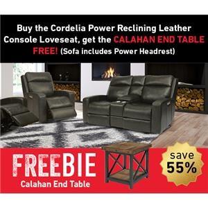Cordelia Leather Power Loveseat w/Freebie!