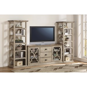 Relaxed Vintage Entertainment Center with Adjustable Shelves