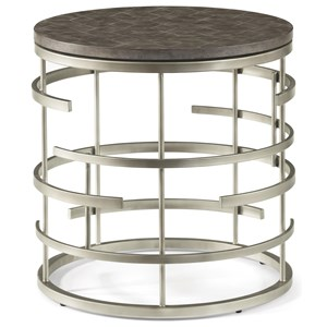 Contemporary Round Lamp Table with Concrete Tabletop