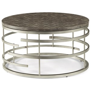 Contemporary Round Cocktail Table with Antiqued Concrete Top