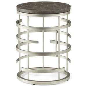Contemporary Round Chairside Table with Concrete Tabletop
