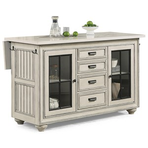 Cottage Kitchen Island with Drop Table Leaf