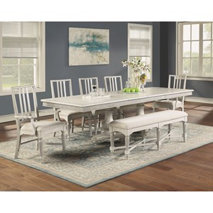 7-Piece Cottage Dining Table Set with Bench