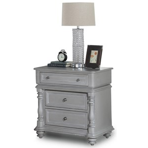 Traditional Nightstand with 3 Drawers and Turned Post Edges
