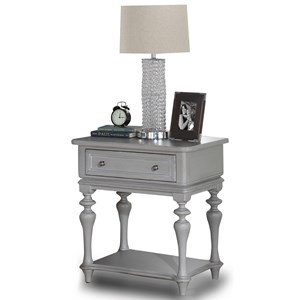 Traditional Nightstand with Drawer and Open Bottom Shelf