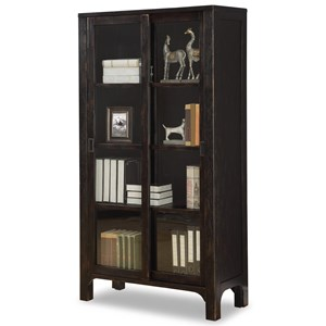 Rustic Bookcase with Sliding Doors
