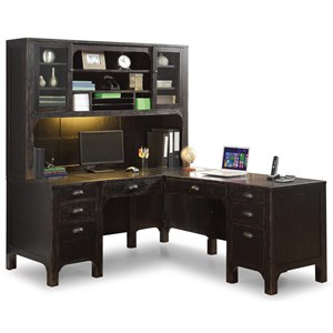 Rustic L-Shaped Desk and Hutch with Built-In Lighting