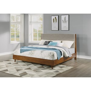 Mid-Century Modern Queen Upholstered Bed with Platform Frame