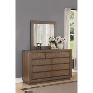 Casual 9-Drawer Dresser and Mirror Set with Felt-Lined Top Drawers