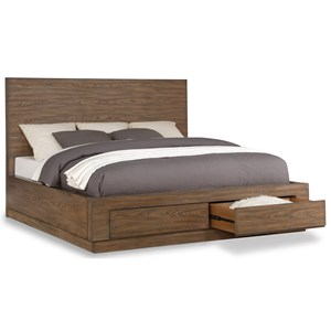 Casual California King Platform Bed with Footboard Storage