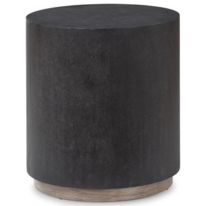 Casual Lamp Table with Leather-Like Fabric