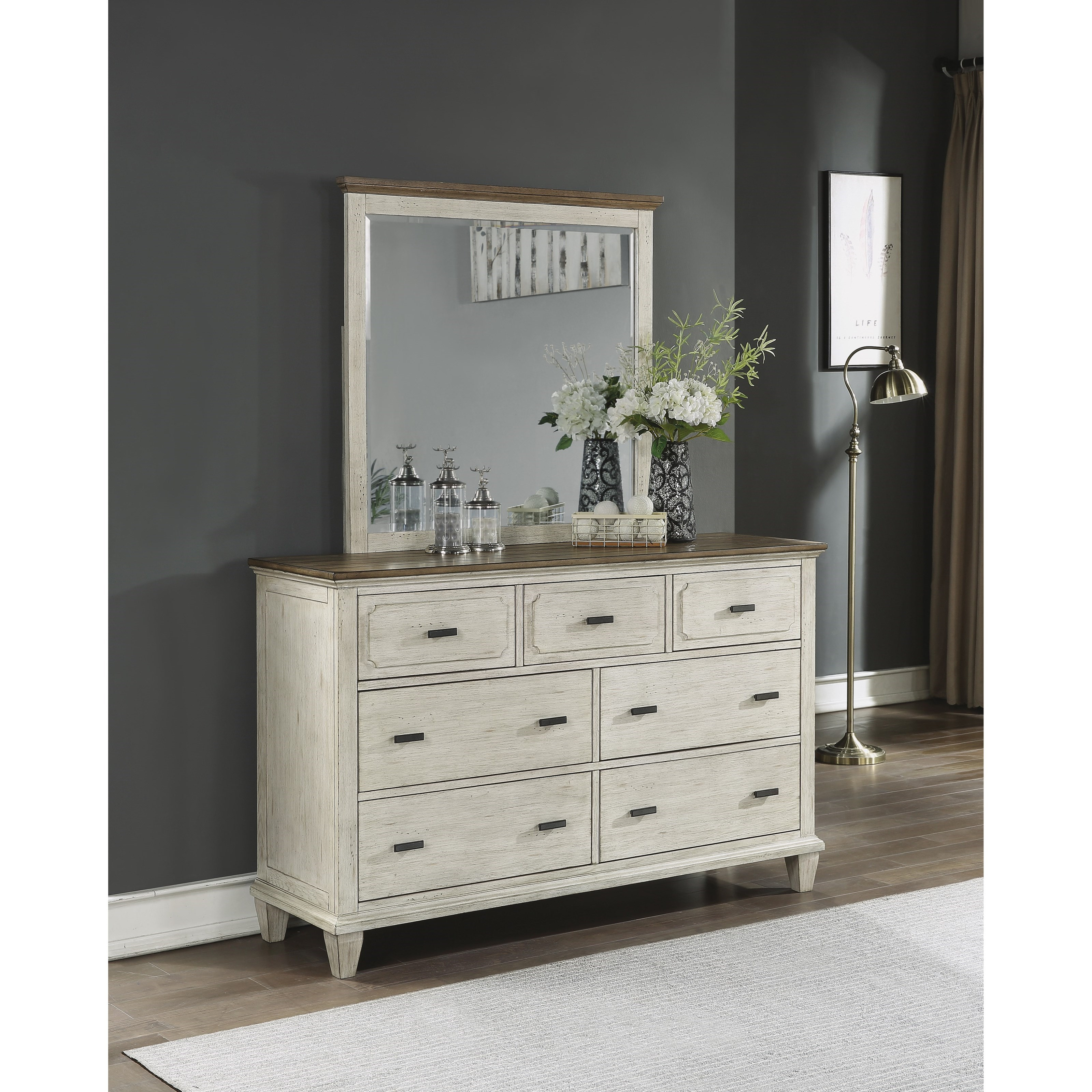 Newport Dresser and Mirror Set by Flexsteel Wynwood Collection at Steger's Furniture