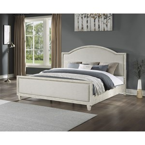 Relaxed Vintage King Upholstered Bed with Panel Frame