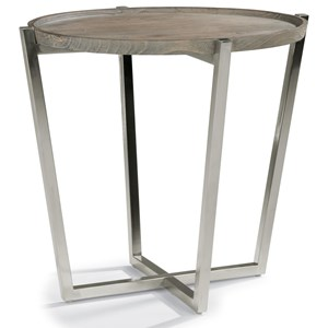 Contemporary Round End Table with Stainless Steel Base