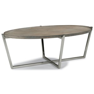 Contemporary Oval Cocktail Table with Stainless Steel Base