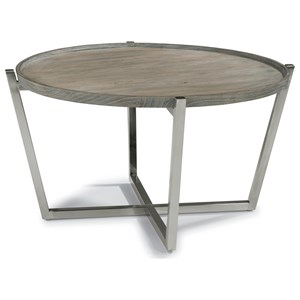 Contemporary Round Cocktail Table with Stainless Steel Base