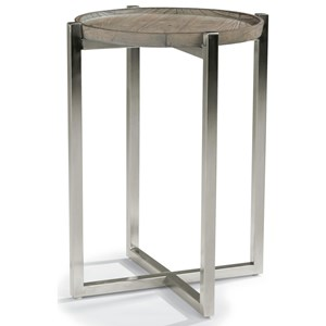 Contemporary Chairside Table with Stainless Steel Base