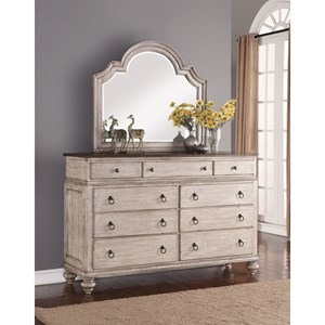 Cottage Dresser and Mirror Combo with 9-Drawers