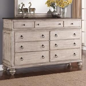 Relaxed Vintage 9-Drawer Dresser with False-Bottom Drawer