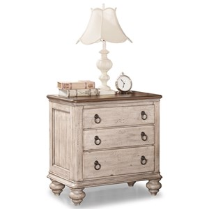 Relaxed Vintage Nightstand with Built-In Outlets