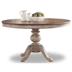 Relaxed Vintage Pedestal Dining Table with Leaves