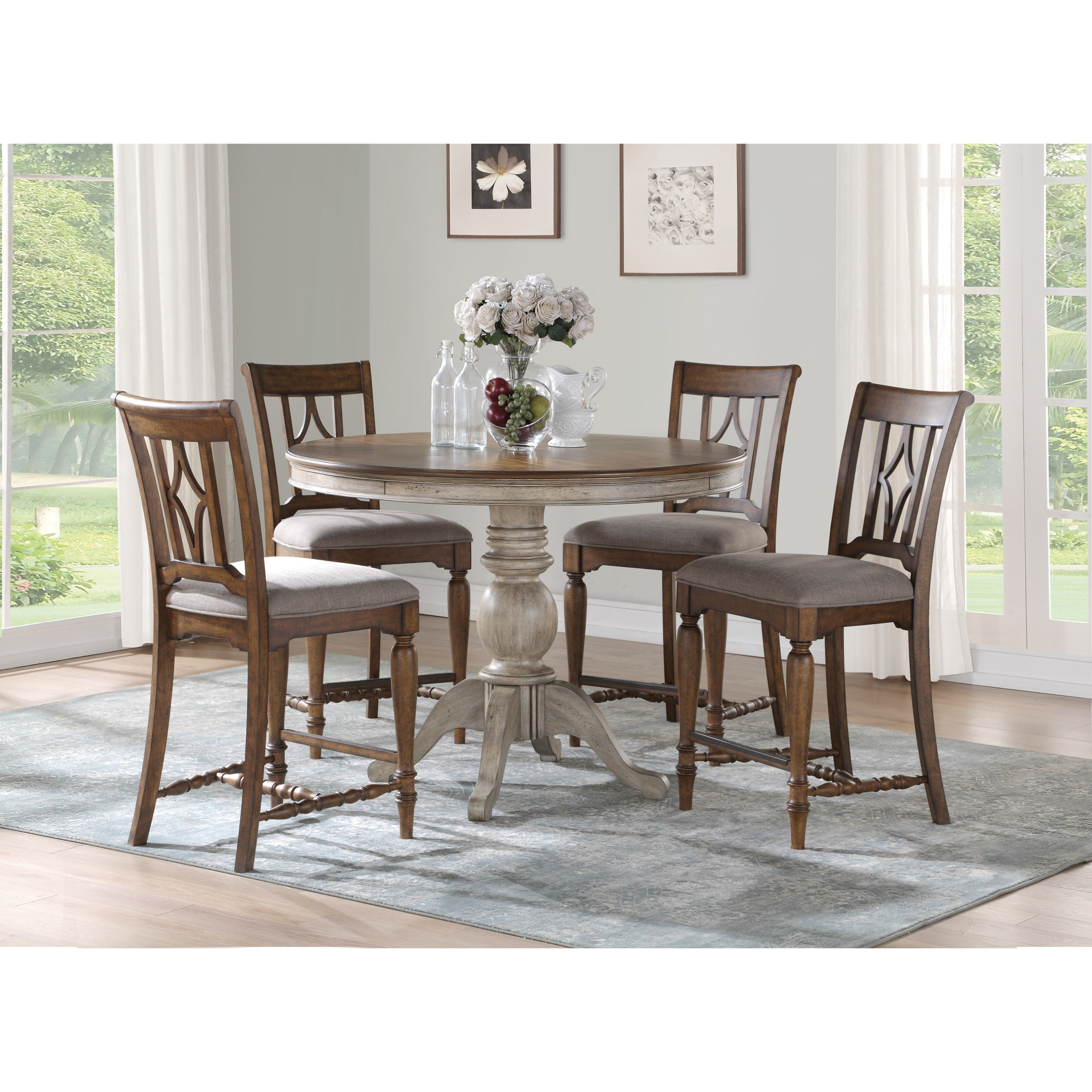 Plymouth 5-Piece Counter Height Table Set by Flexsteel Wynwood Collection at Fashion Furniture
