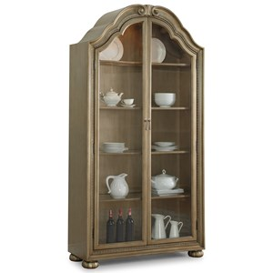 Traditional China Cabinet with Adjustable Shelving and Touch-Hinge Lighting System