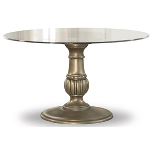 Traditional Round Pedestal Table with Glass Top