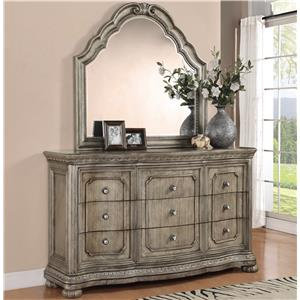 Nine Drawer Dresser and Mirror