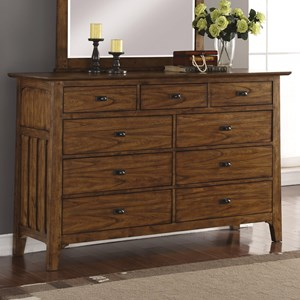 Mission Dresser with Felt-Lined Top Drawers and False Bottom Drawer