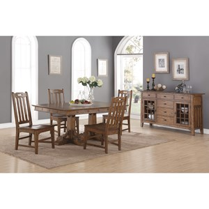 Casual Dining Room Group with Double Pedestal Table