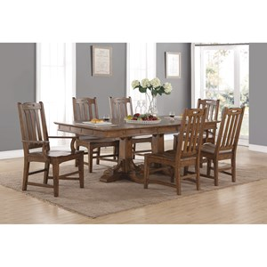 Mission Formal Dining Table and Chair Set with Removable Leaves