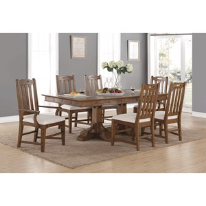 Mission Formal Dining Table and Chair Set with Upholstered Chairs and Removable Leaves