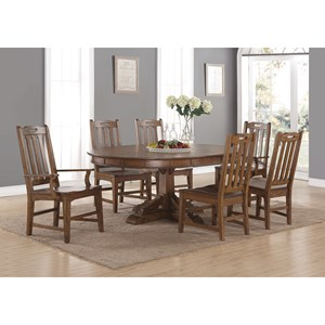 Mission Formal Oval Dining Table and Chair Set with Removable Table Leaf