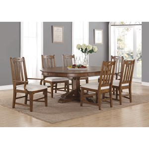 Formal Oval Dining Table and Chair Set with Upholstered Chairs