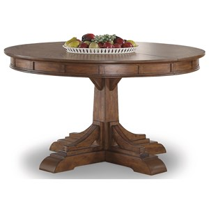 Mission Round Pedestal Dining Table with Table Leaf