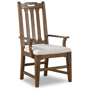 Mission Upholstered Arm Dining Chair with Slat Back