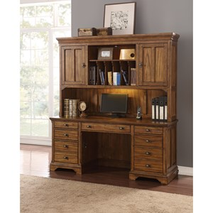Mission Kneehole Credenza and Hutch with Lighting