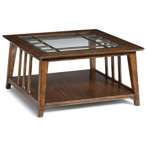 Mission Square Cocktail Table with Glass Tabletop