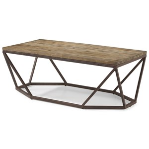 Contemporary Rectangular Cocktail Table with Geometric Metal Base