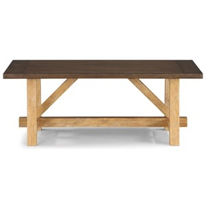 Casual Rustic Cocktail Table with Trestle Base