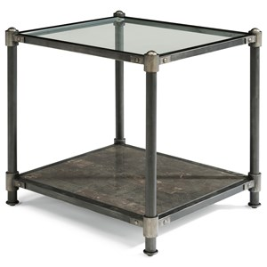 Industrial End Table with Bluestone Shelf