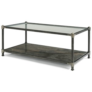 Industrial Rectangular Cocktail Table with Bluestone Shelf