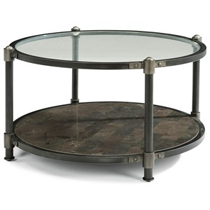 Industrial Round Cocktail Table with Bluestone Shelf