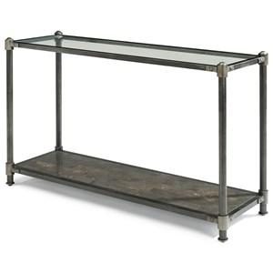 Industrial Sofa Table with Bluestone Shelf