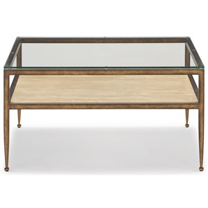 Transitional Square Cocktail Table with Glass Top